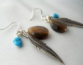 READY TO SHIP Antique Silver Feather Chocolate Brown Teardrops Turquoise Howlite Nuggets Perfect Fall Earrings