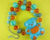 RESERVED for INDIGO PONY - Huge Teddy Necklace - plastic aqua and orange bear, chunky beads, statement necklace, retro cute kitsch, Harajuku