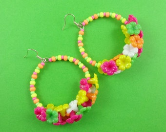 Colourful Flower Beaded Hoop Earrings - fun circle earrings with cute flowers - kitsch kawaii Harajuku Decora summer jewelry tropical summer