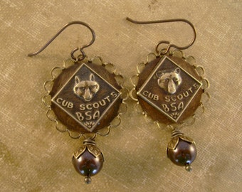 Den Mother - Vintage Cub Scouts Boy Scout Pins Brown Pearls Recycled Repurposed Upcycled Steampunk Jewelry Earrings