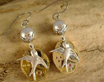 Bird Girl - Vintage Watch Movements Silver Birds Pearls Beadcaps Niobium Hypoallergenic Wires Steampunk Recycled Repurposed Earrings