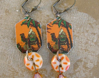 Midnight at the Oasis - Vintage Orange Camel Tins Stencil Buttons Crystals Recycled Repurposed Jewelry Earrings - Ten Year Anniversary Gift