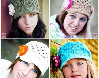 Choose Your Color Womens Newsboy with Flowers, Custom Newsboy, Gifts for Her, Womens Winter Hat, Teen Girls Hat, Custom Womens Hat