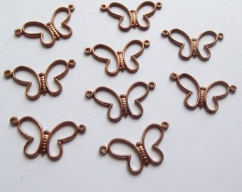 On Sale Vintage copper brass butterfly connector charms