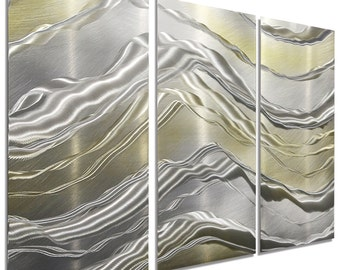 NEW! Silver & Gold Modern Metal Wall Art - Contemporary Home Decor - Painted Metal Accent - Alternating Current 3 by Jon Allen