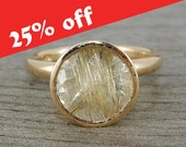 CLEARANCE - Rutuilated Quartz Ring - Huge 10mm Fair Trade Gemstone and Recycled 14k Yellow Gold - Cocktail Ring, Ready to Ship, size 6.5