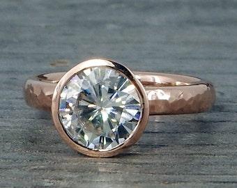 Rose Gold Engagement Ring - 2 Carat Forever One D-E-F Moissanite and Recycled Gold, Hybrid Peekaboo Prong Bezel, Eco Friendly, Made to Order