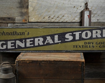 General Store Wood Sign, Personalized Shop Owner Name Sign, Dry Goods Textiles Gifts Decor - Rustic Hand Made Vintage Wooden Sign ENS1001397