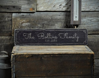 Custom Family Sign, Rustic Wedding Sign, Wedding Gift, Established Date Sign, Last Name Sign, Wedding Sign, Custom Wooden Sign ENS1001292