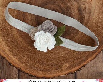 Neutral Grey/White/Beige Felt Flower Headband/Clip/Barrette for Baby, Child, Teen, or Adult - Custom Elastic Color