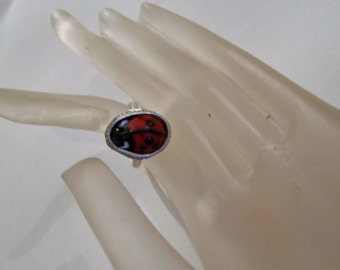 Lady Bug Glass Bead Ring, Sterling Silver Ring, Rustic Jewelry, Fine Jewelry, Rings, Artisian jewelry, Handmade Jewelry