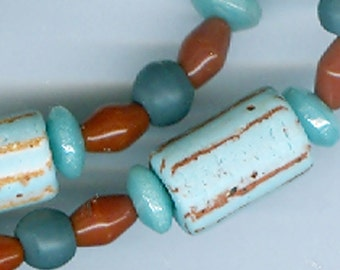 Handmade Vintage Ceramic Beads Prosser Sintered Glass from Morocco All Uncirculated Striped Tubes and Solid Opaque Beads Heishi Etc.