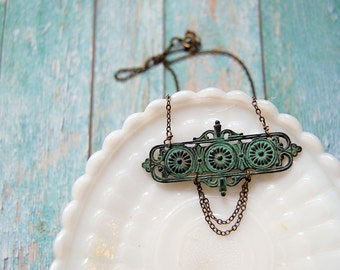 verdigris brass vintage inspired necklace - art nouveau style