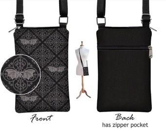 Black Goth iPhone 6 Plus Case Cell Phone Purse Small Crossbody Bag  Zipper Pocket fabric iPhone case Medieval Medallion Bat Spooky  gray RTS