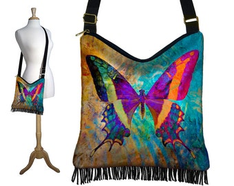 Bohemian Butterfly Hippie Bag Hobo Purse Crossbody Bag Gyspy Boho Fringe Bag, zipper, colorful blue purple orange black  RTS