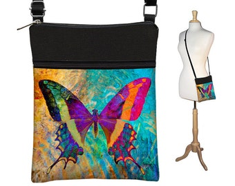 Small Crossbody Bag Butterfly Boho Cross Body Purse Bohemian Shoulder Bag,  eReader Case Cover,  Art Nouveau, blue purple orange black  RTS