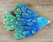 Hand Painted Plaster Bird Wall Hanging Wall Decor