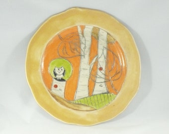 Handmade Ceramic Lunch Plate, Pottery Dish aspen tree art, Sandwich Plate, Salad Plate, Side Plate, Yellow Dish, Cookie Plate 323