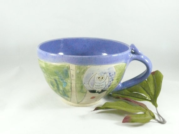 Purple + Green Ceramic Soup Cup, Oversized soup mug with handle, handled cereal bowl, Colorado pottery, teacup latte cup cappucino mug 523