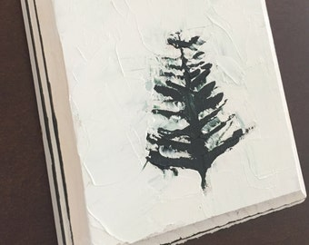 oil painting, oil on wood panel, pine tree, christmas decor, holiday decor