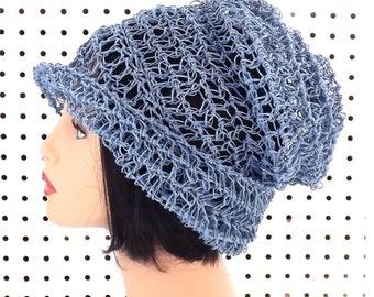 Crochet Hat Sun Hat Womens Hat Trendy,  Crochet Beanie Hat,  Light Blue Hat,  Ombretta Summer Beanie Hat
