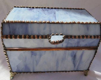 Jewelry Box or Treasure Box of Opaque Purple Swirl Stained Glass/Purple Polished Rock for Handle