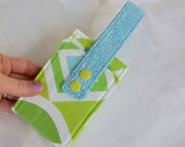 Luggage Tag - Suitcase ID Tag - Lime Green and Turquoise Blue