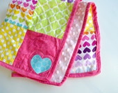Doll Quilt - Baby Doll Blanket - Patchwork Doll Quilt - American Girl Blanket - Rainbow Heart Blanket - Chevron Doll Quilt