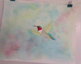 Hummingbird Original Watercolor Painting, Bird Painting, Bird Art, 8 x 10 inch original watercolor, Home Decor, Wall Decor, Cottage Decor