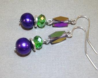 Purple Freshwater Pearls And Green Czech Glass Earrings - Silver Earrings - AB Czech Crystal - Dangle Earrings - Boho Jewelry - Gift For Her