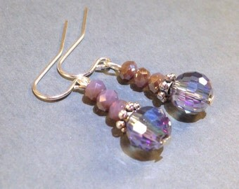 Light purple AB disco ball crystal silver earrings, also available in gold
