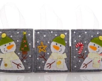 Christmas Ornaments, Wool Felt Ornaments, Christmas Hand Embroidery, Advent Calendar Gifts, Handmade Snowman Decorations, Felt Candy Cane