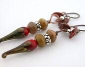 Red raku glass drips brown agate copper sterling earrings - handmade, artisan lampwork, cserpentDesigns