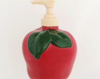 Red Apple Fruit Soap Pump Dispenser Bottle for Kitchen Counter or Bathroom Vanity Decor