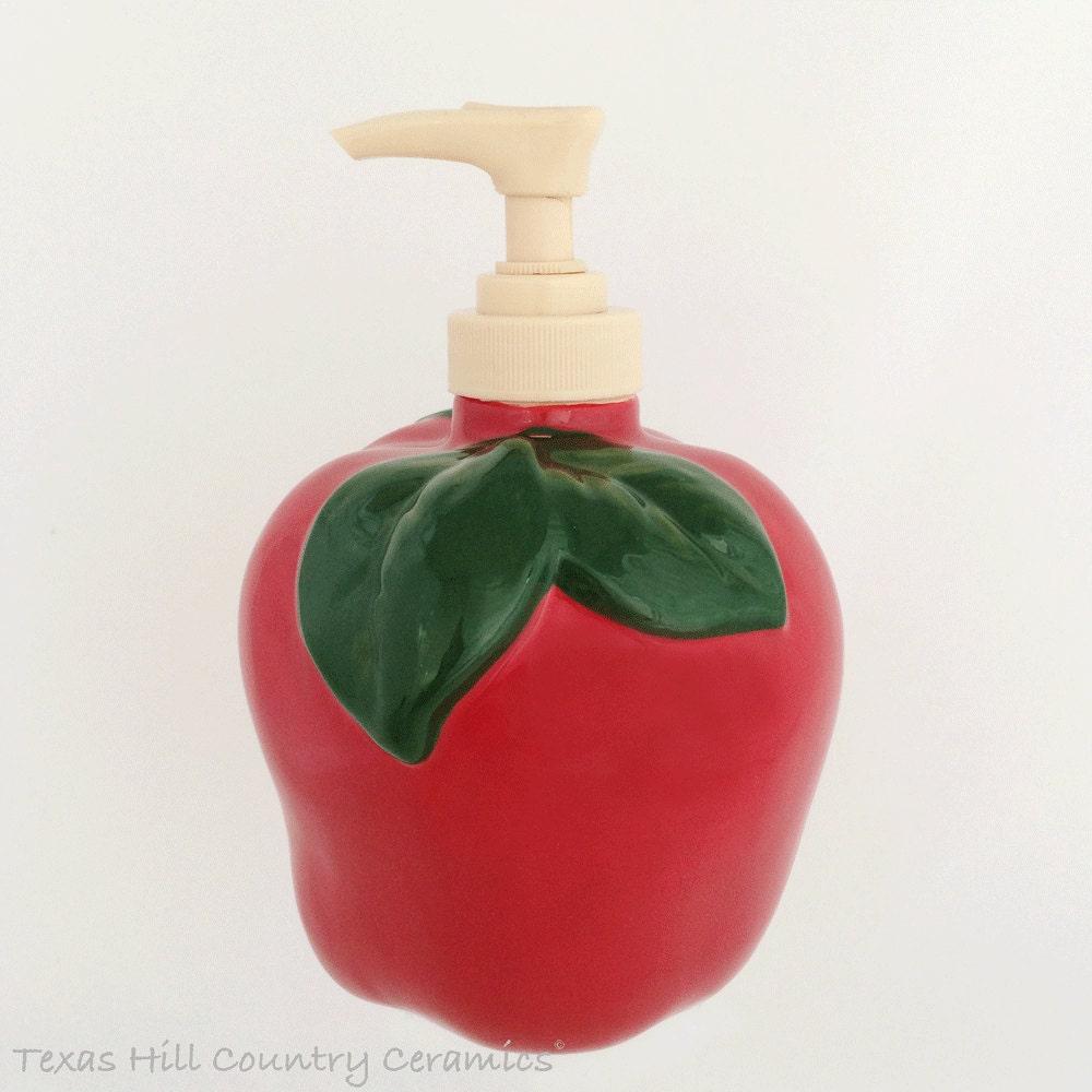 Red Apple Kitchen Decor Ceramic Red Apple Fruit Soap Dispenser Bottle For Kitchen