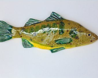 Perch ceramic fish art decorative wall hanging