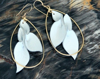 Leather Petals Statement Earrings w/ gold - white lambskin - long dangle teardrop hoop - OOAK - silver or rose gold, custom leather colors