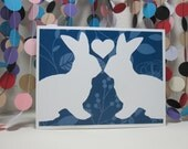 Bunny Love Card - rabbit love - wedding anniversary - white bunny - white rabbit - blue white - donation card
