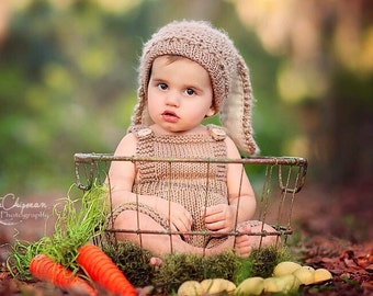 Toddler Bunny Rabbit Outfit KNiT BaBY PHoTO PRoP Hat & Overalls w Tail Set UNiSeX Floopy Ear Beanie w Romper EaSTeR CoSTuME Taupe PiCK CoLoR