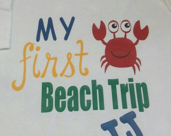 Personalized My First Beach Trip Crab Short Sleeve Shirt
