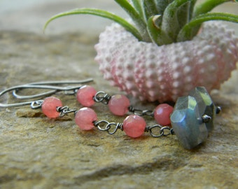labradorite and pink quartz dangle earrings - oxidized sterling silver