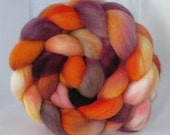 Hand Dyed Polwarth Wool Combed Top Roving  (4.0 oz.) - SWING DANCE - Spinning Fiber Hand Painted Kettle Dyed Braid Needle Felting Photo Prop