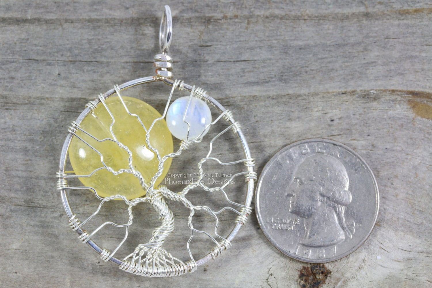 Sun And Moon Tree Of Life Pendant Yellow By Phoenixfiredesigns