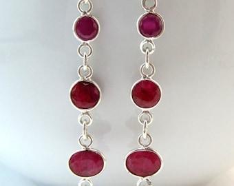 CIJ 35% OFF Ruby Dangle Earrings, Gemstone Earrings, Birthstone, Under 50, Gifts for Her,