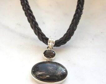 25% SALE Rare Black Golden Seraphinite Pendant.  Smoky Quartz. Brown Braided Leather Cord. Under 50.