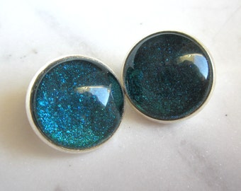 Teal Blue Sparkle Clip On Earrings. Bezel Setting Clip Ons. Under 25. Gifts for Her.