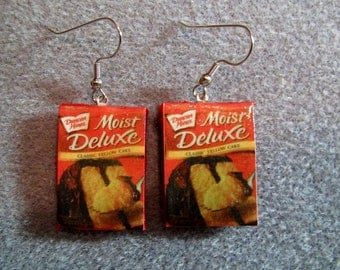 Duncan Hines Cake Mix Dangle Polymer Clay Junk Food Earrings Hypo Allergenic Nickle-Free