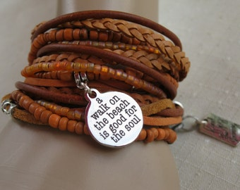 Boho Leather Bead Wrap Bracelet and Necklace, Multi Strands of Leather and beads in shades of Natural  browns and soft corals