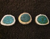 Icelandic Sheep Horn Button with Inlay Turquoise Chips
