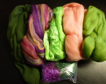 Fiber Pack Merino Silk Angelina Rose Quartz  5.25 Ounces Total Felting Spinning Carding